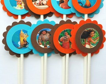 Moana Inspired Cupcake Toppers - Turquoise Blue, Orange & Brown - Qty: 12 - Disney Princess Birthday Party