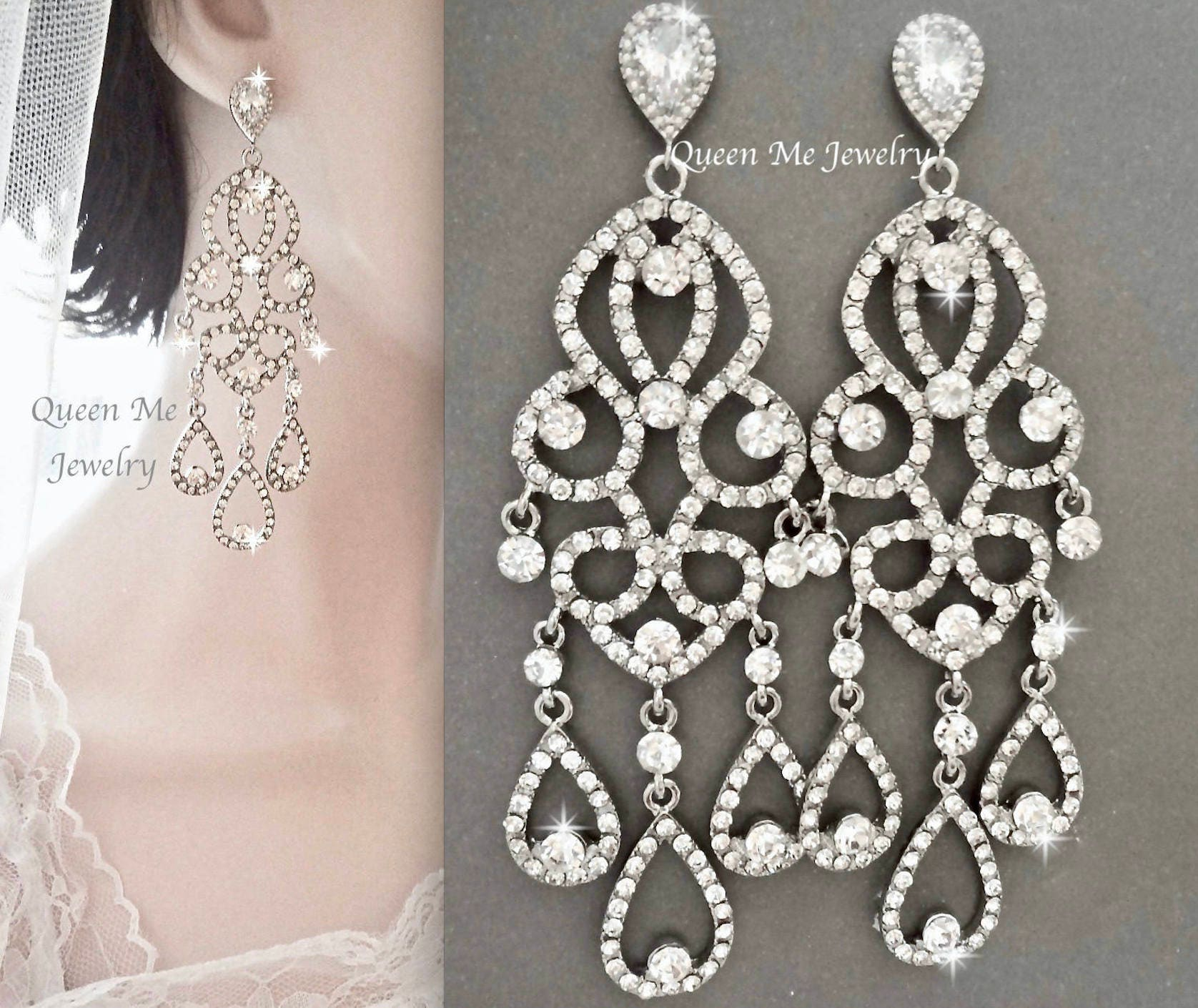 Long chandelier earrings Chrystal rhinestone chandelier
