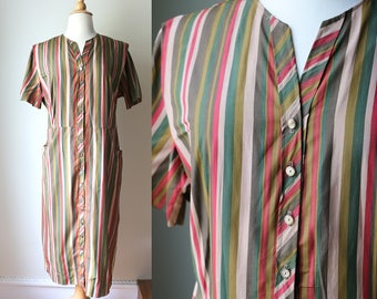Vintage Late 1950s Early 60s Striped Day Dress
