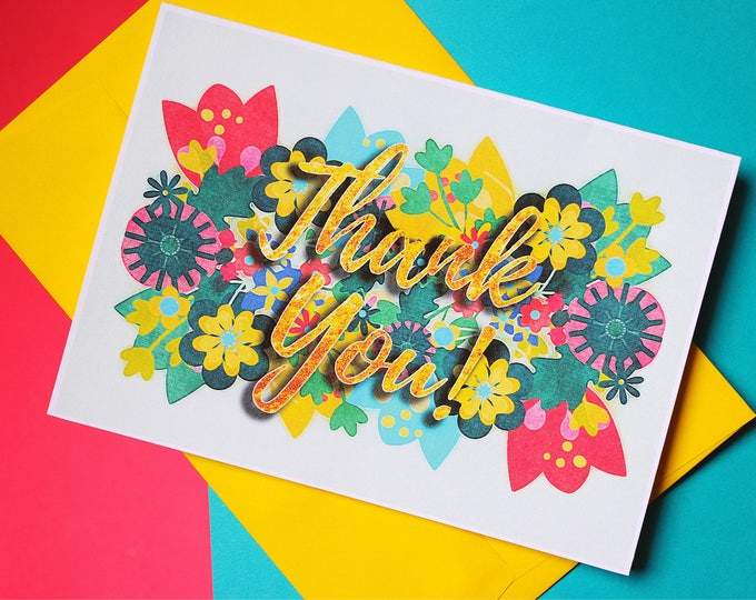 Featured listing image: Thank You Card Greeting Floral Printed Tamer Animals Exclusive Flowers Illustration Cardstock Blank Statement