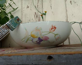 Vintage Large White Pottery + Floral Bowl by Halls - Retro Mixing Bowl, Storage Container, Nesting Decorative Bowl, Old Antique Mixing Bowl