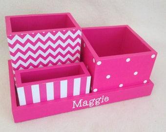 Personalized Desk Organizer - Office or Home Organizer - Pencil Holder Set - Pink Chevron,  Polka Dot, Pink Stripe- Decoupaged - Gift