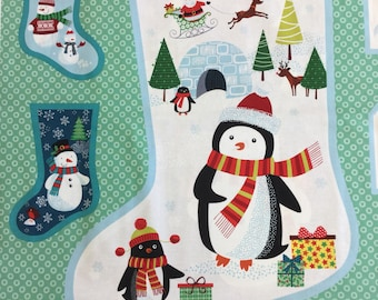 Makeower 1618 Frosty Large  Stocking Panel 100% Cotton Fabric by the 60 cm panel