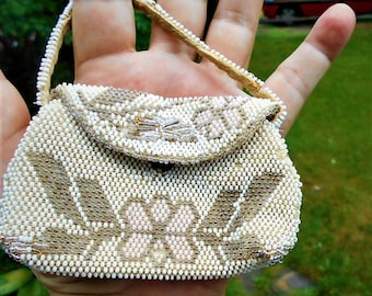 Antique Micro Beaded Child's Purse, Doll Size, Art Deco Geometric Shape Pink Flowers, Angel Leaves & Silver Accents,100 Years Old Only 59.90