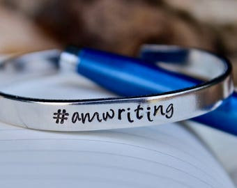 Writer Bracelet, Amwriting, Hashtag AmWriting, Gift for Writer, Writing Jewelry,Gift for Writers, Writer Jewelry, Write Every Day, AmWriting