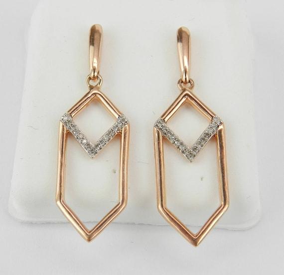 Rose Gold Diamond Earrings Dangle Drop Wedding Earrings Geometric Design