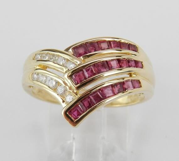 Diamond and Ruby Wedding Ring Anniversary Band 14K Yellow Gold Size 8 July Gem