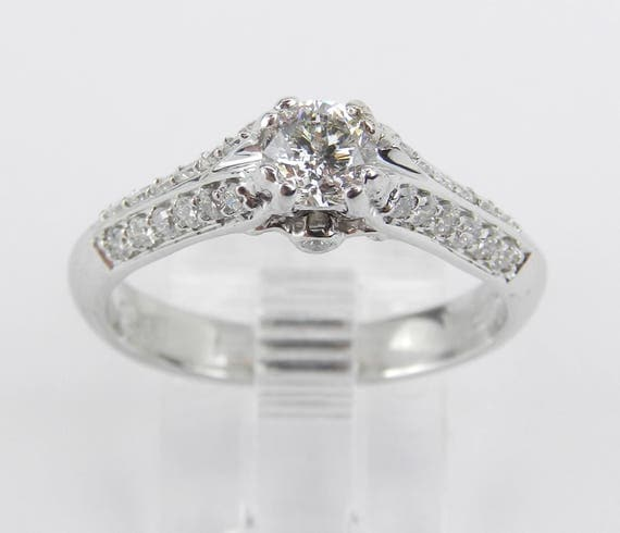 14K White Gold Diamond Engagement Ring Promise Ring Anniversary Ring Size 7
