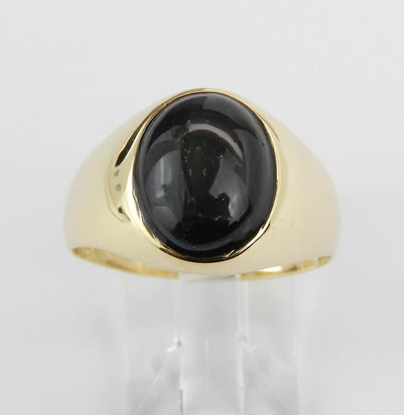 Vintage Antique 18K Yellow Gold Mens Black Star Sapphire Solitaire Ring Size 9.25
