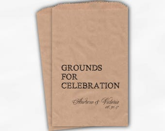Grounds for Celebration Coffee Favor Bags - Black Personalized Wedding Favor Bags with Names and Date - Custom Kraft Paper Bags (0178)