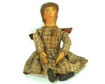 Vintage Hand Made Primitive Doll, Folk Art Angel Doll