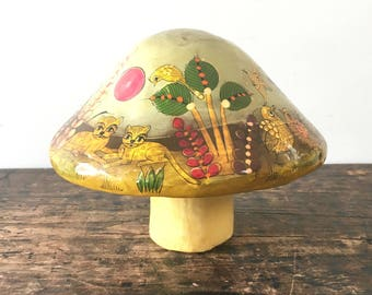 Vintage Mexican Folk Art Ser-Mel Mushroom, Hand Painted, Paper Mache