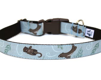 "Otter Dog Collar 1"" Summer Dog Collar Ocean Dog Collar"