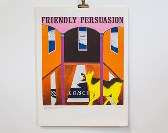1968 Anti War Poster 'Friendly Persuasion' Bernice Sender Colorblock