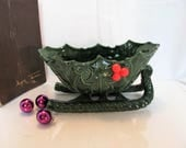 Lefton Christmas Holly Sleigh  / Lefton Holly Dishes / Green Holly Christmas Dishes