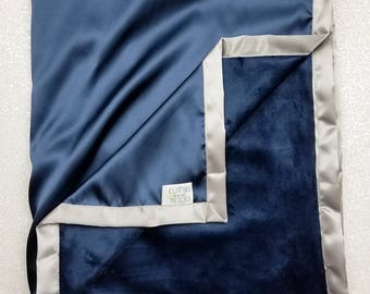 Minky Blanket, Baby boy, navy and grey, navy and silver, blue and grey, Cowboys, satin blanket, silk blanket, child blanket, boy blanket