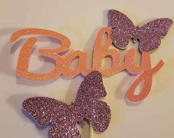 Baby or Name Butterfly baby shower cake topper You choose Colors
