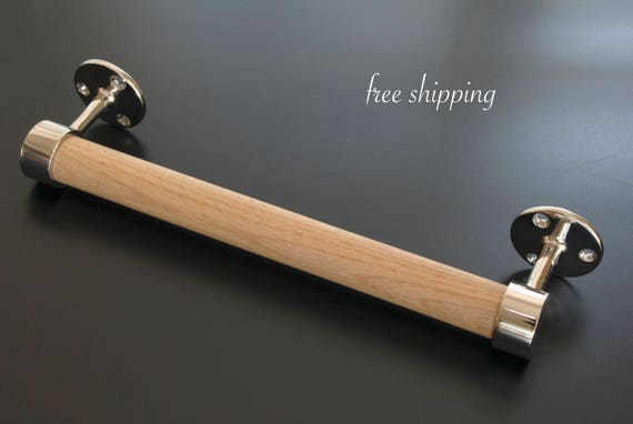 Polished Stainless Steel and Natural White Oak Towel Bar, In Stock, Ships for Free