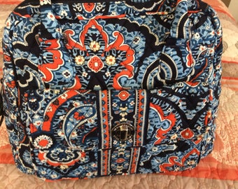 Vera Bradley Purse, Marrakesh, New w/Tags, 6 Pockets Inside, Orange, Navy, Lt. Blue, White, Zipper, Buckle, 2 Pockets on Outside