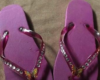 Purple butterfly bling flip flops  size 5/6