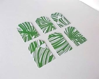 Tropical Gift Tags, Monstera Paper Tags, Gift Basket Supplies, Set of 12 Gift Tags, Botanical Cardstock, Craft Tags