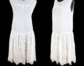 1920s Dress // Embroidered White Lace Net Tulle Drop Waist Flapper Possible Wedding Dress