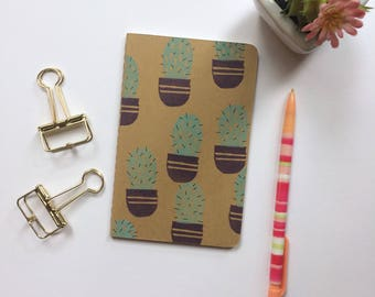 Cactus Print, Hand-Stamped Blank Journal