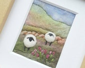 Sheep on a Rolling Hillside - needle felted and hand embroidered fabric collage picture - miniature fibre art, felted wool art