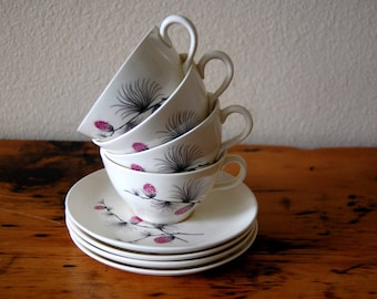 Vintage Canonsburg Pottery Wild Clover Coffee Cups and Saucers Mid Century Moder Coffee Cups And Saucers from The Eclectic Interior