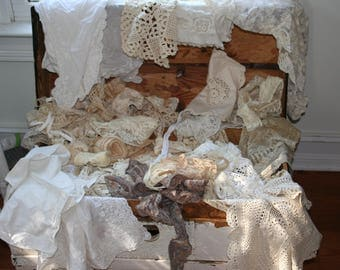 Large Stash of Vintage Lace, Linens, Trims.......Grab Bag!!
