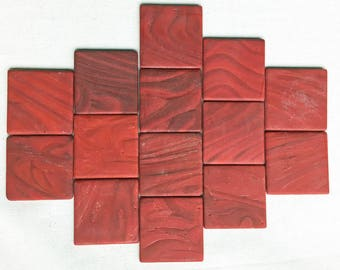 "2"" Red Marbled Glass Squares"