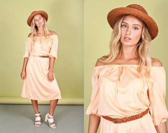70s Peach Over the Shoulder Dress Vintage Slouchy Jersey Dress