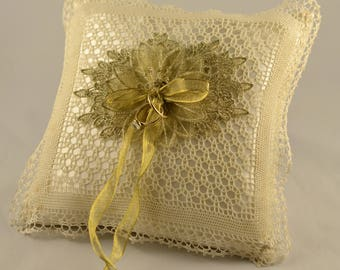 Wedding Ring Bearer Pillows, Ivory Gold Ring Pillow, Ring Pillow Ivory & Gold Lace, Ring Pillow, Ivory Lace Ring Pillow, Ready to Ship