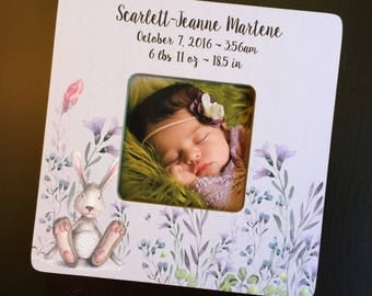 Personalized Bunny New Baby Keepsake Frame Baby Gift Newborn Birth Stats New Mom Gift Wood 4x4 Picture Frame Keepsake Frame Custom Design