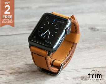 Apple Watch Leather Bands Watch Band 42mm 38mm Honey Brown Series 1 2 3 [Handmade] [Custom Colors] [FREE SHIPPING]