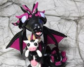 Dragon with baby cow teddy. Hand Sculpted Polymer Clay Figurine