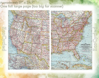 Vintage Atlas Map 1960 America United States National Geographic Map antique full color Map Paper Ephemera Historical atlas 19 x 25 Inch NG4