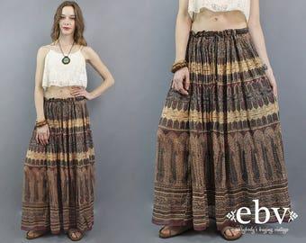 Indian Maxi Skirt Cotton Gauze Skirt 90s does 70s Maxi Skirt Plus Size Skirt Hippie Skirt Boho Skirt Bohemian Skirt Festival Skirt XL 1X