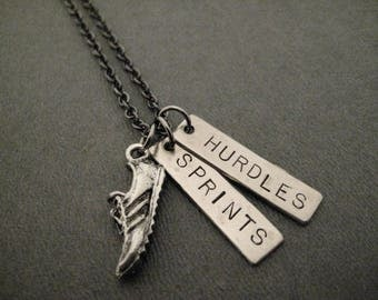 2 TRACK EVENTS Necklace - Shoe, 1 Track Distance or Event Pendant PLUS an additional Track Distance or Event Pendant on Gunmetal Chain
