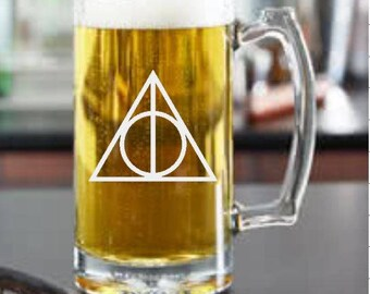 "Deathly Hallows, Harry Potter inspired  Glass ""PICK YOUR STYLE"""