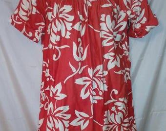 """SUMMER CLEARANCE SALE 70s Vintage Kimo's Polynesian Shop-Hawaiian Muu Muu Dress -Casual Aloha-Hawaii-Resort Cruise Beach-Medium-40"""" Bust-Siz"""