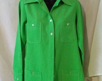 """70s Vintage Leisure Blouse-Man Tailored-Front Button-Size 8-Medium-40"""" Bust-Casual-St Patricks Day"""