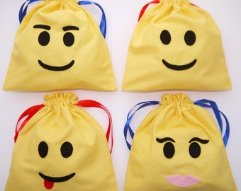 Party Bags Lego inspired favour fabric drawstring bags Boys Girls personalised filler character decoration