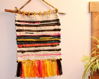3 Woven wool wall hanging Electric Sunset