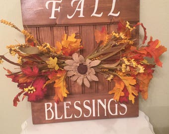 Fall Blessings sign Housewarming Gift Fall Decor Autumn Country Sign Cottage Chic Home Sign Prim Sign Cabin Sign Handmade Ready To Ship