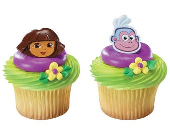 24 Dora & Boots Cupcake Rings Cake Toppers Decorations Party Favors Supplies