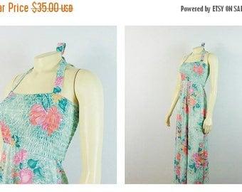 SALE Vintage Dress 70s Hawaiian Halter Maxi Dress Green Floral Stretch Bodice Modern Size XS - S