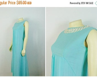 MOVING SALE Vintage Dress 50s 60s Mad Men Formal Dress Sky Aqua Blue Chiffon Overlay Iridescent Sequin Prom Dress Size XS -S
