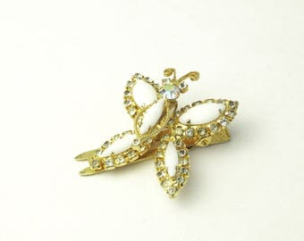 Vintage Milk White Glass AB Rhinestone Trembler Butterfly Hair Clip Gift For Her on Etsy