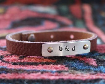 leather bracelet, unisex leather bracelet, custom leather bracelet, leather cuff, cuff bracelet, gift for her, gift for him, personalized